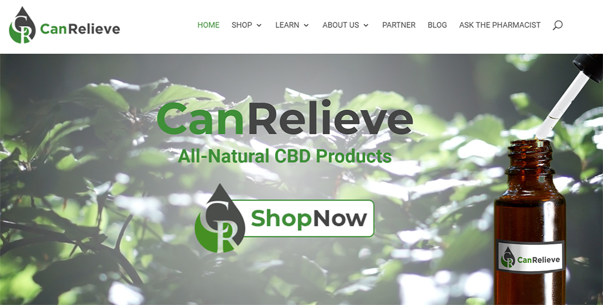 CanRelieve CBD Products Ecommerce Website Image - Close the Loop Group