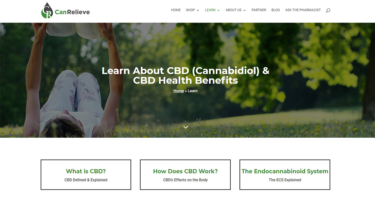 CanRelieve CBD Products Ecommerce Website Learn Section Image - Close the Loop Group